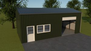 5 x 10 x 3,5 loods of garage met garagedeur, loopdeur en dubbelraam in zijgevel