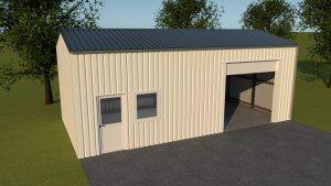5 x 10 x 3,5 loods of garage met garagedeur, loopdeur en enkelraam in zijgevel