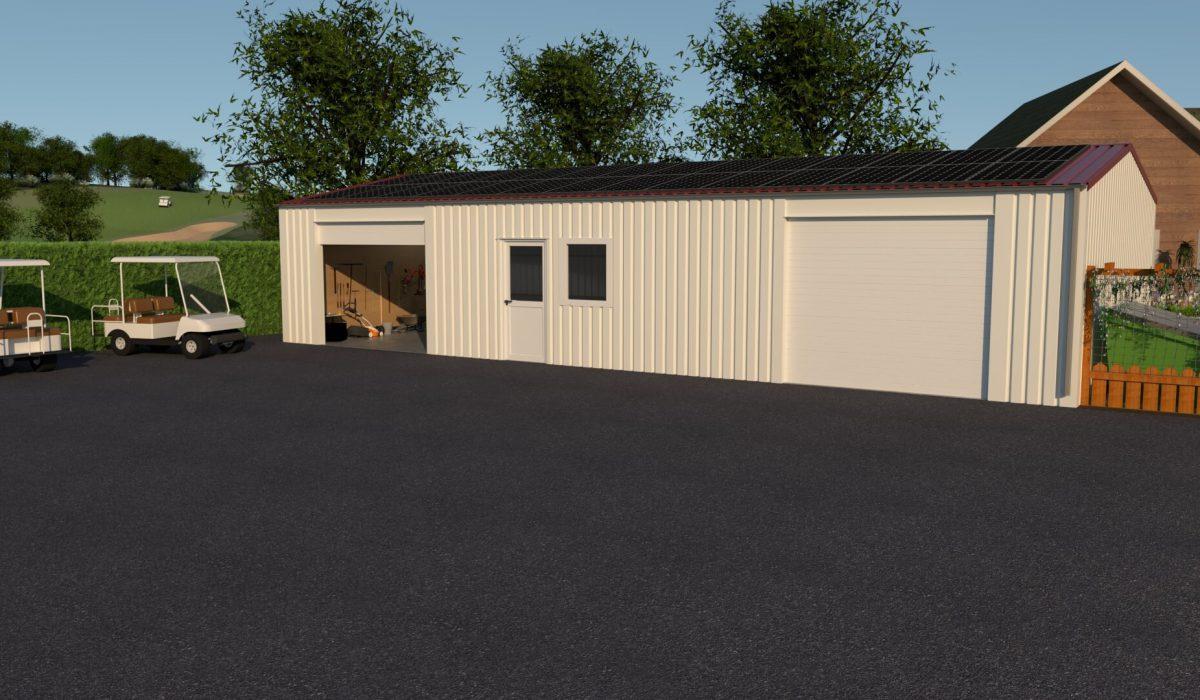 7 x 15 x 2,7 garage of schuur met twee garagedeuren, loopdeur en enkel raam