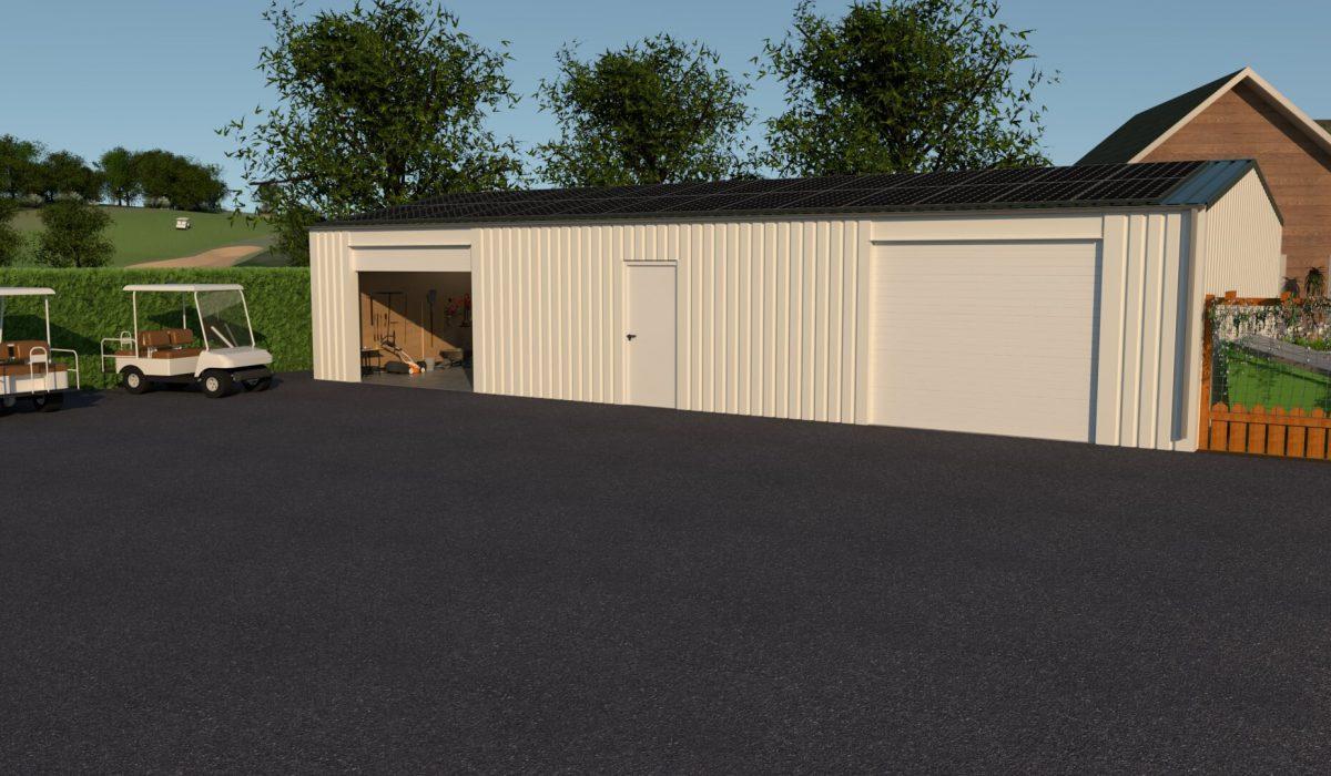 7 x 15 x 2,7 garage of schuur met twee garagedeuren en loopdeur