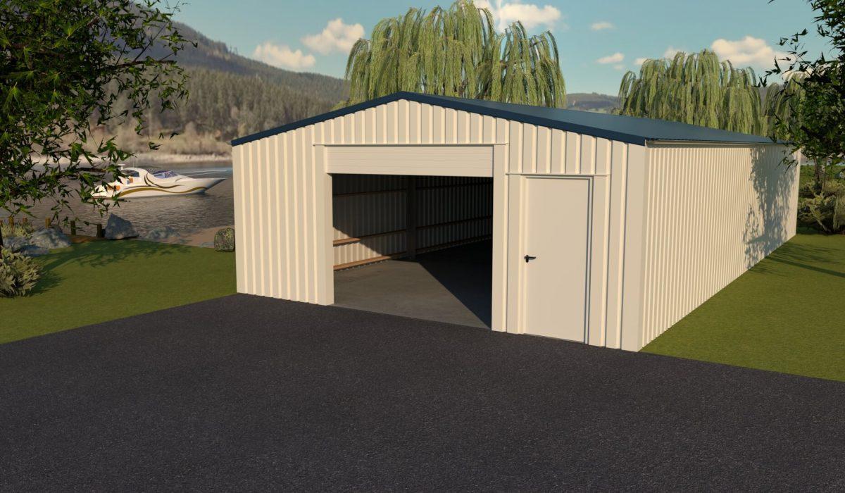 7 x 15 x 2,7 loods, garage, schuur met garagedeur en loopdeur kopgevel