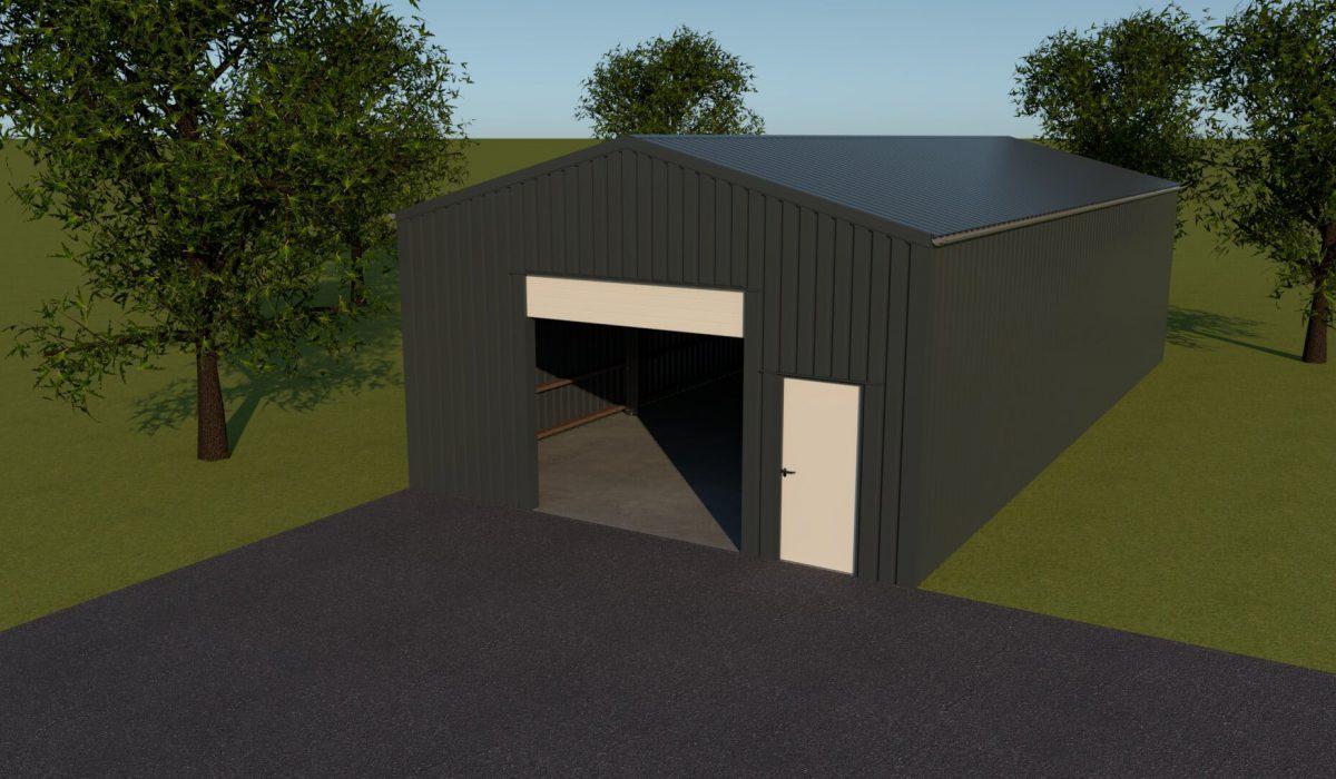 7 x 3,5 x 15 loods of hal met garagedeur en loopdeur in de kopgevel