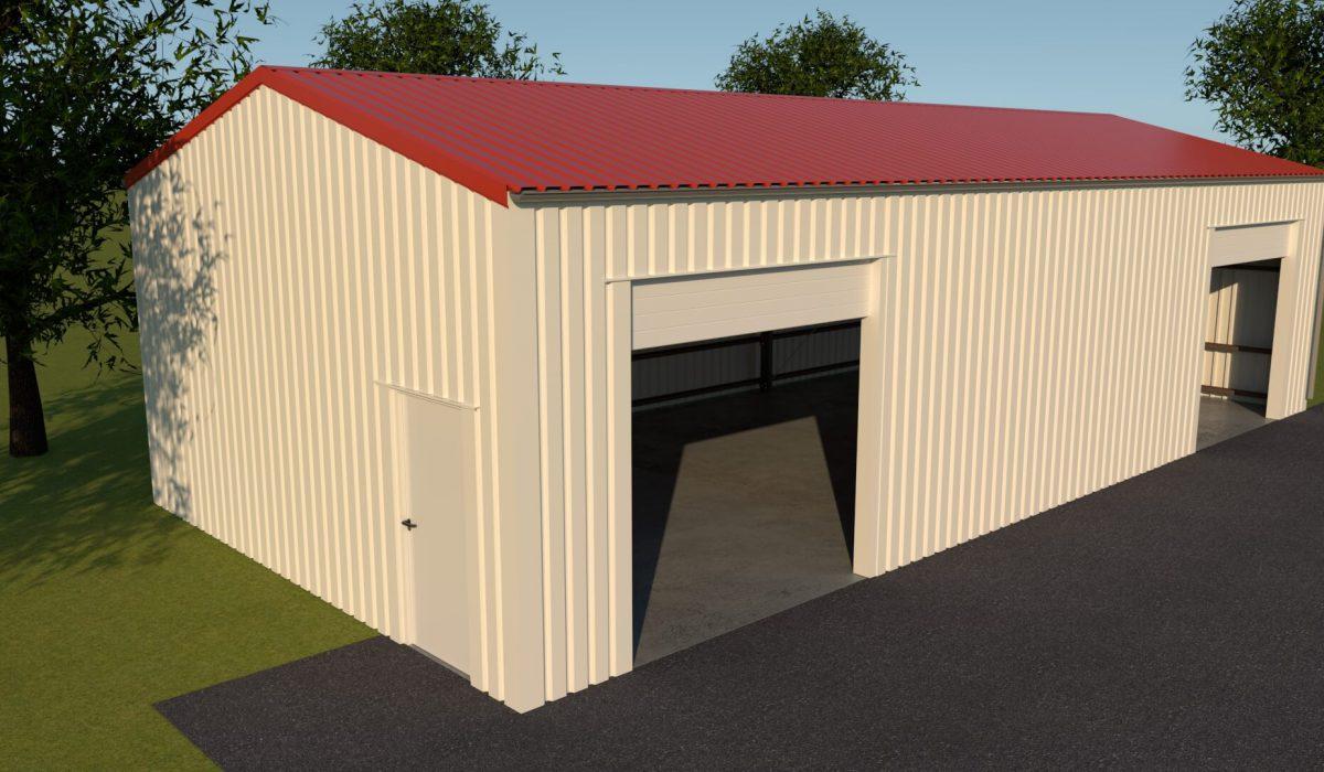 7 x 3,5 x 15 loods of garage met dubbele garagedeur in zijgevel en loopdeur kopgevel