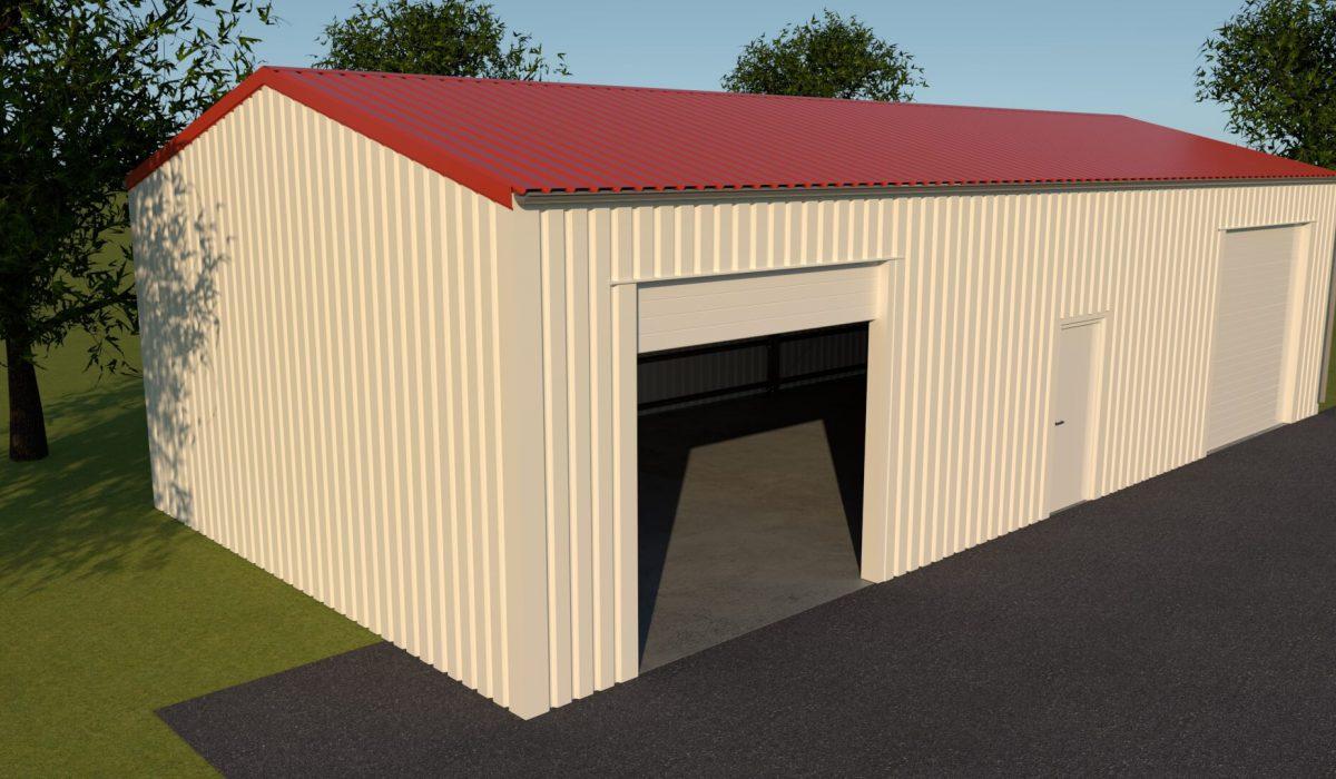 7 x 3,5 x 15 loods of garage met dubbele garagedeur en loopdeur zijgevel