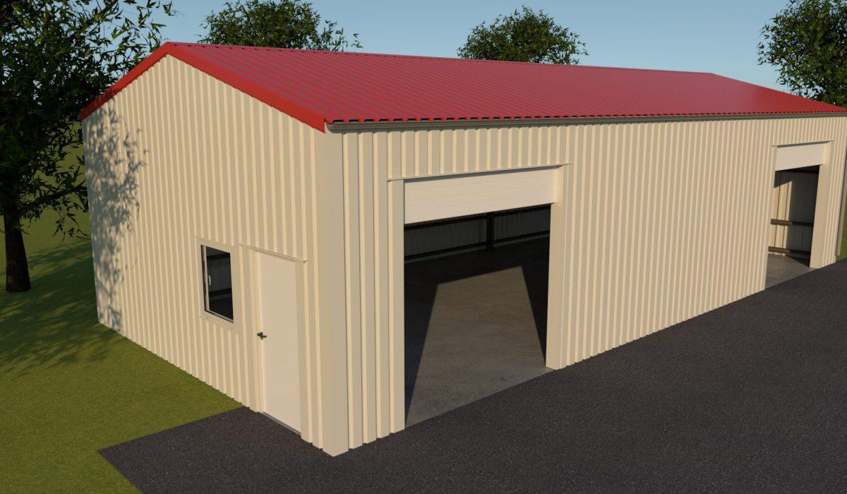 7 x 3,5 x 15 loods of garage met dubbele garagedeur in zijgevel en loopdeur en raam kopgevel