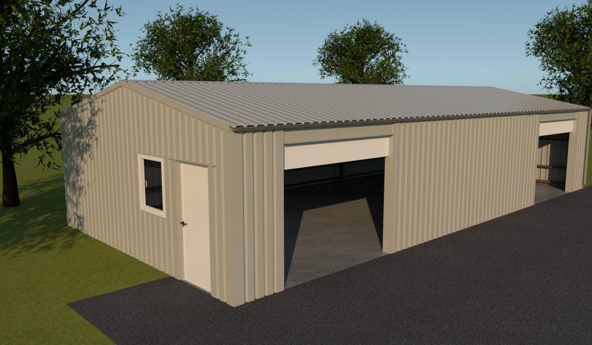 7 x 15 x 2,7 garage of schuur met twee garagedeuren, loopdeur en enkelraam